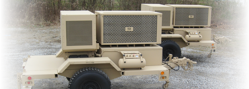 36,000 BTU/Hr self-contained continuous run environmental control unit, exportable power, power providing 35KW diesel generator mounted on a HMMWV towable trailer.